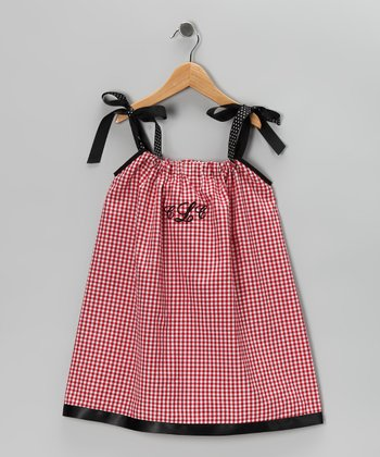 Red Gingham Monogram Swing Dress - Infant, Toddler & Girls