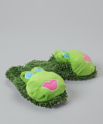 Cozy Critters Green Frog Slipper