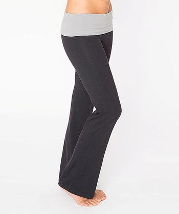 Raven Black & Frost Gray Leo Fold-Over Yoga Pants