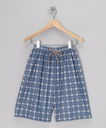 Blue Plaid Jake Pajama Shorts - Boys