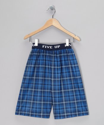Blue Plaid Foxwood Pajama Shorts - Boys