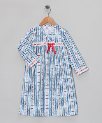 Royal Floral Stripe Surplice Nightgown - Toddler & Girls