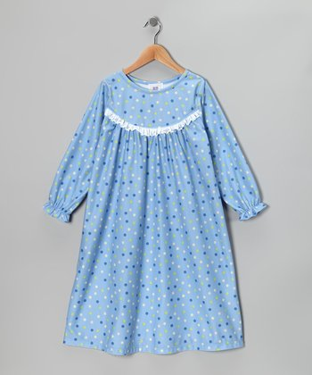 Blue Happy Polka Dot Nightgown - Girls