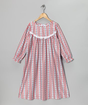 Red Floral Stripe Ruffle Nightgown - Girls