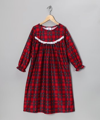 Red Plaid Ruffle Nightgown - Toddler & Girls