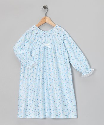 Blue Celestial Bow Nightgown - Toddler & Girls