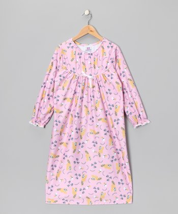Pink Raccoon Bow Nightgown - Toddler