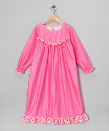 Pink Polka Dot Ruffle Nightgown - Girls