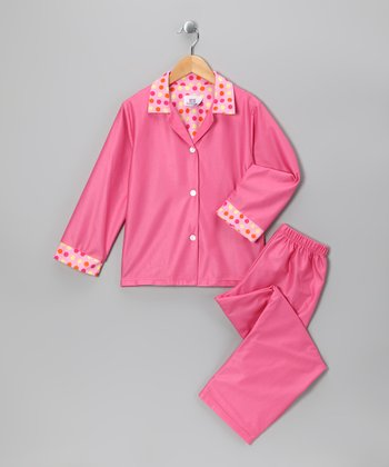 Pink Polka Dot Pajama Set - Girls