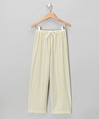 Green Stripe Pajama Pants - Girls