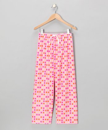 Pink Polka Dot Pajama Pants - Girls