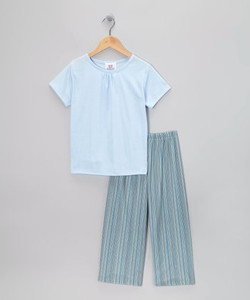 Blue Madison Pajama Set -Girls