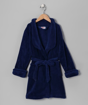 Navy Plush Bathrobe - Boys