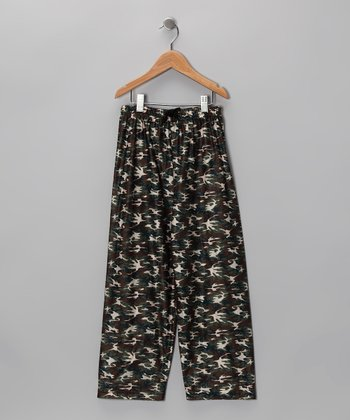 Black Woodland Pajama Pants - Boys