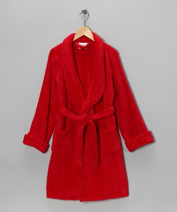 Red Plush Bathrobe - Boys