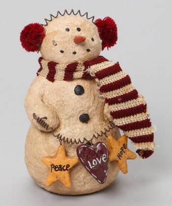 Red & White Earmuff Snowman Figurine