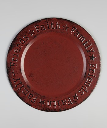 Red 'Faith, Family, Friend' Plate