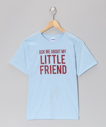 Light Blue 'Ask Me About My Little Friend' Flip-Up Tee - Kids & Adult