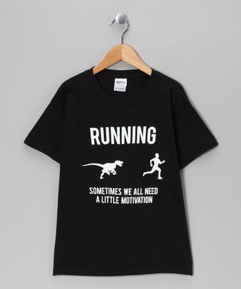 Black T-Rex 'Running' Motivation Tee - Kids & Adult