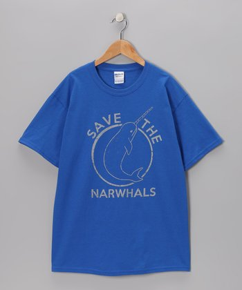 Royal Blue 'Save the Narwhals' Tee - Kids & Adult
