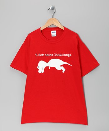 Red 'T-Rex Hates Chaturanga' Tee - Kids & Adult