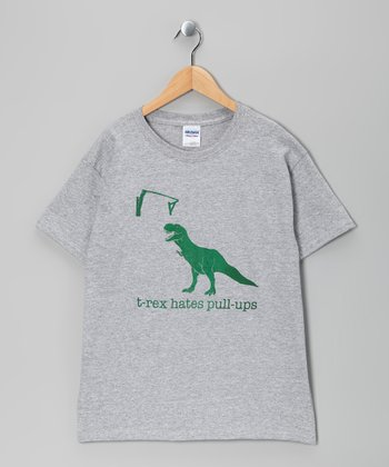 Heather Gray 'T-Rex Hates Pull-Ups' Tee - Boys & Men