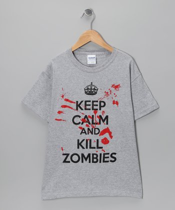 Heather Gray 'Keep Calm and Kill Zombies' Tee - Kids & Adult