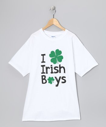 White 'I Love Irish Boys' Tee - Girls & Women's