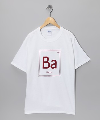 White Periodic Element of Bacon Tee - Kids & Adult