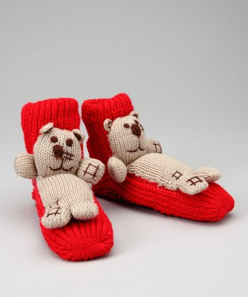Red & Brown Bear Slipper Socks