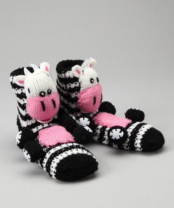Black Stripe Cow Slipper Socks
