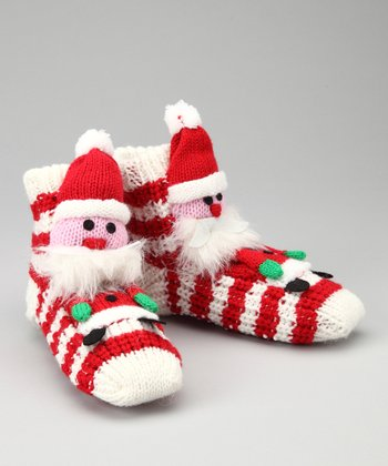 Red Stripe Santa Slipper Socks