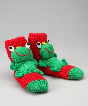 Red & Green Frog Slipper Socks