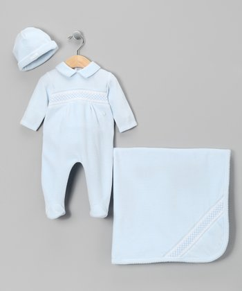 Blue Smocked Footie Set