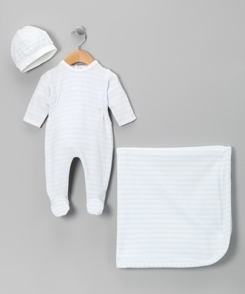 Blue Stripe Footie Set