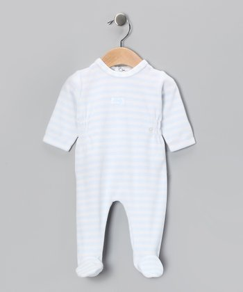 Blue Stripe Smocked Footie