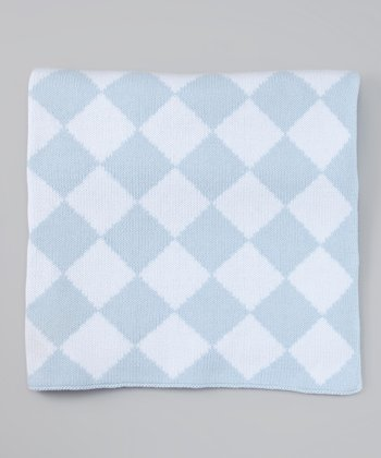 Blue & White Diamond Stroller Blanket