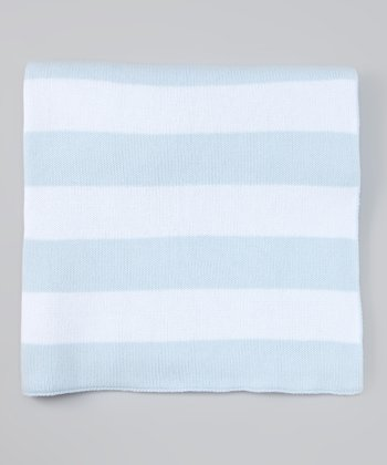 Blue & White Stripe Stroller Blanket
