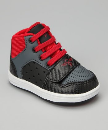 Black Smoke & Red Cesario Hi-Top Sneaker