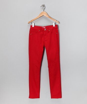 Red Glitter Skinny Jeans - Girls