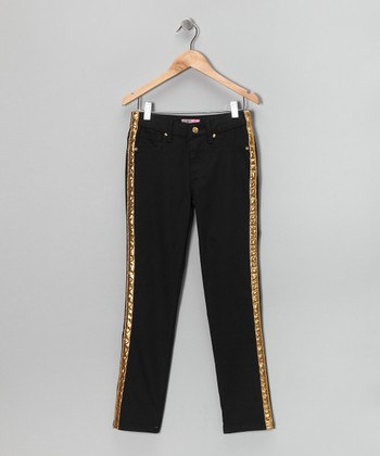Black & Gold Tuxedo Stripe Skinny Pants - Girls