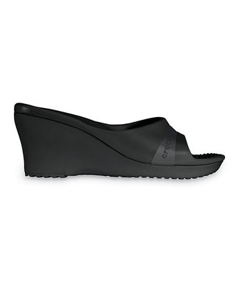 Black Sately Wedge - Women