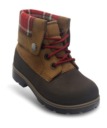Espresso & Hazelnut Plaid Cobbler Boot - Kids
