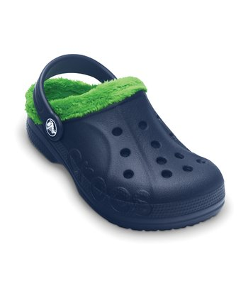 Navy & Lime Green Baya Fleece Clog - Kids