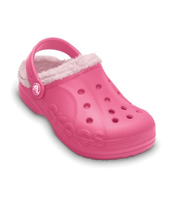 Hot Pink & Petal Pink Baya Fleece Clog - Kids