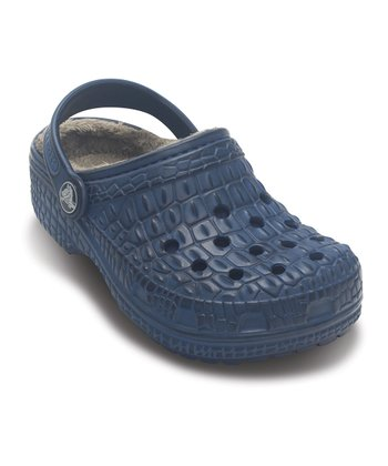 Navy & Sea Blue Crocskin-Lined Clog - Kids