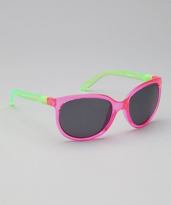 Crystal Magenta & Neon Lime Size 2 Polarized Sunglasses - Women