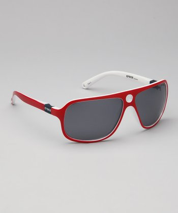 Shiny Red & White Size 2 Polarized Sunglasses - Women