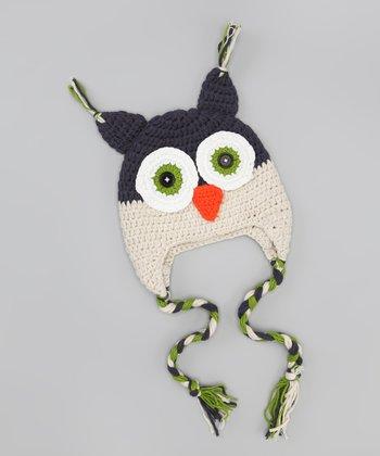 Navy & Tan Owl Earflap Beanie