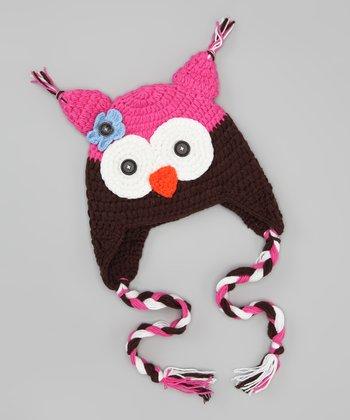Brown & Pink Flower Owl Earflap Beanie